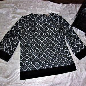 ann taylor loft print small dress blouse pattern